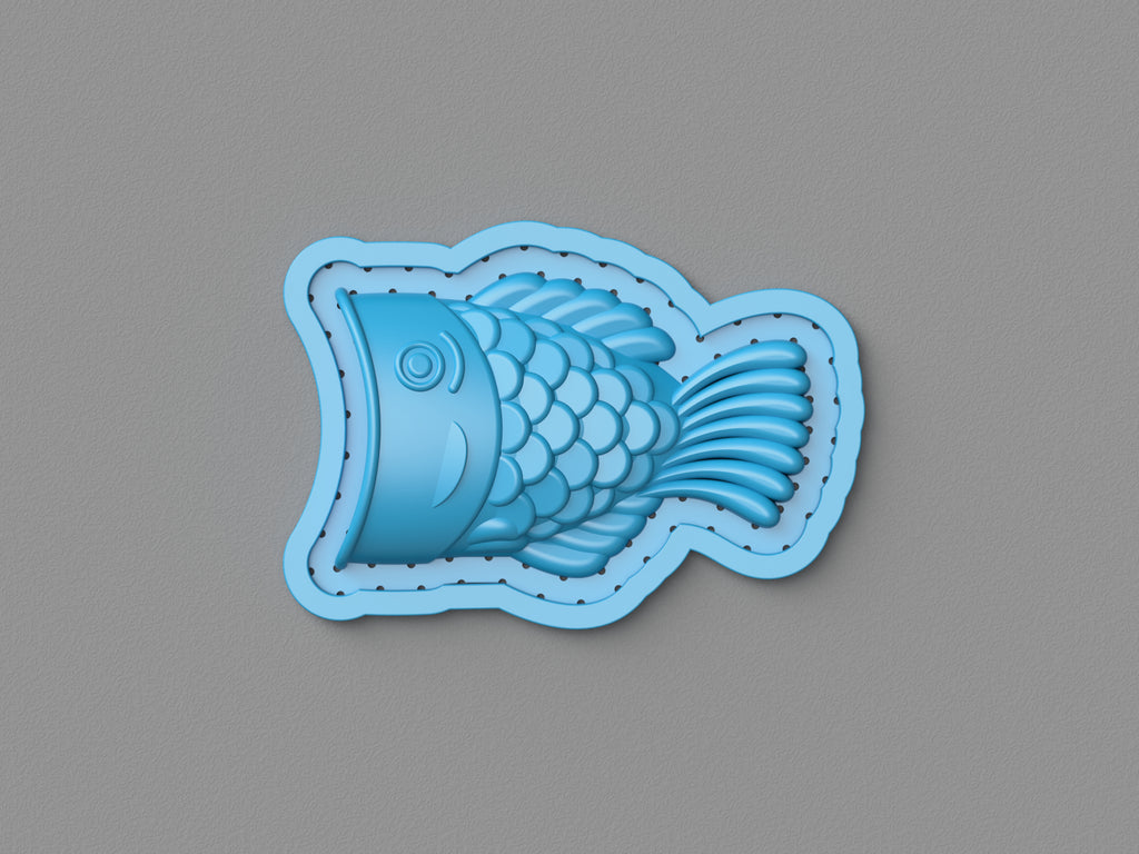 Vacuum-formed two-part chocolate mold: Taiyaki fish (side A)