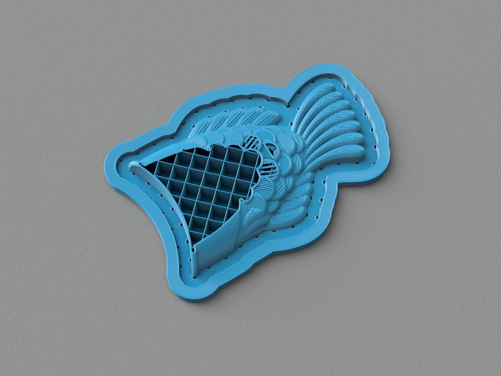 Taiyaki vacuum-formed two-part chocolate mold: 3D printed template section view