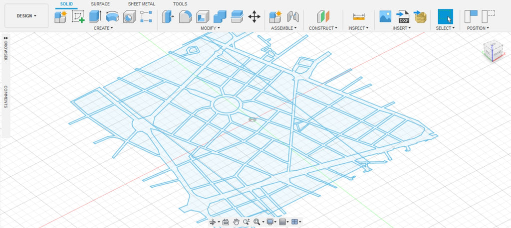 Vector city map imported in DXF format in Autodesk Fusion 360 to extrude a city-shaped custom chocolate bar mold