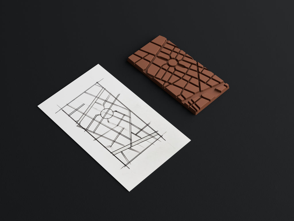 City-inspired custom chocolate bar mold sketch for vacuum forming manufacturing