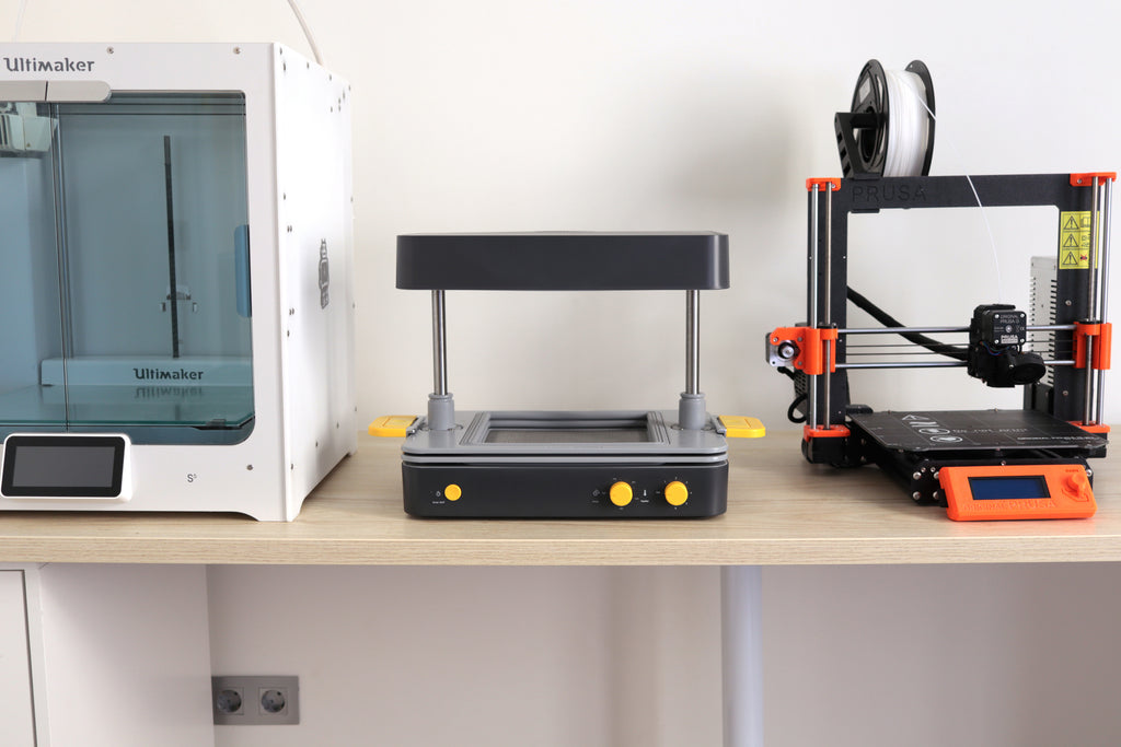 Mayku FormBox vacuum forming machine with Ultimaker and Prusa 3D Printers