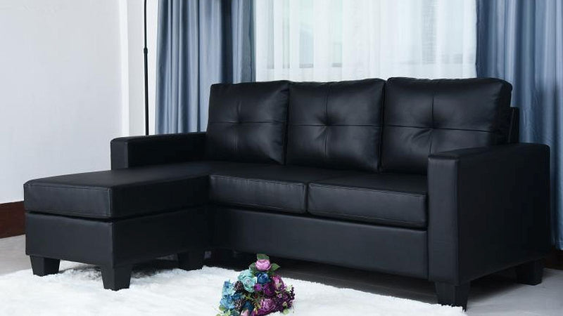 Ezra Sectional - Black Leather - The Fine Furniture