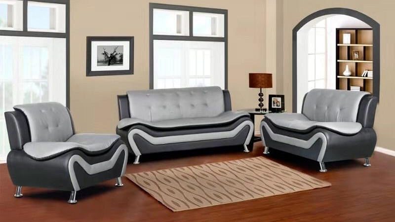 Kennedy Modern Leather Series - Grey & Black - The Fine Furniture