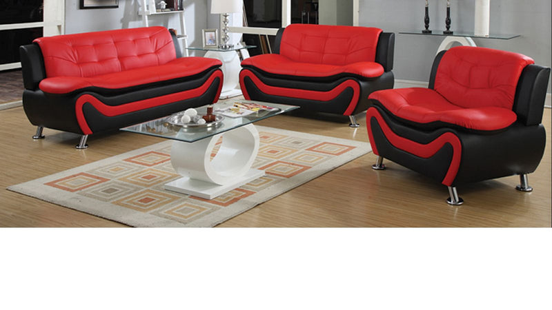 Kennedy Modern Leather Series - Red & Black - The Fine Furniture