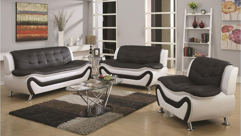 Kennedy Modern Leather Series - Black & White - The Fine Furniture