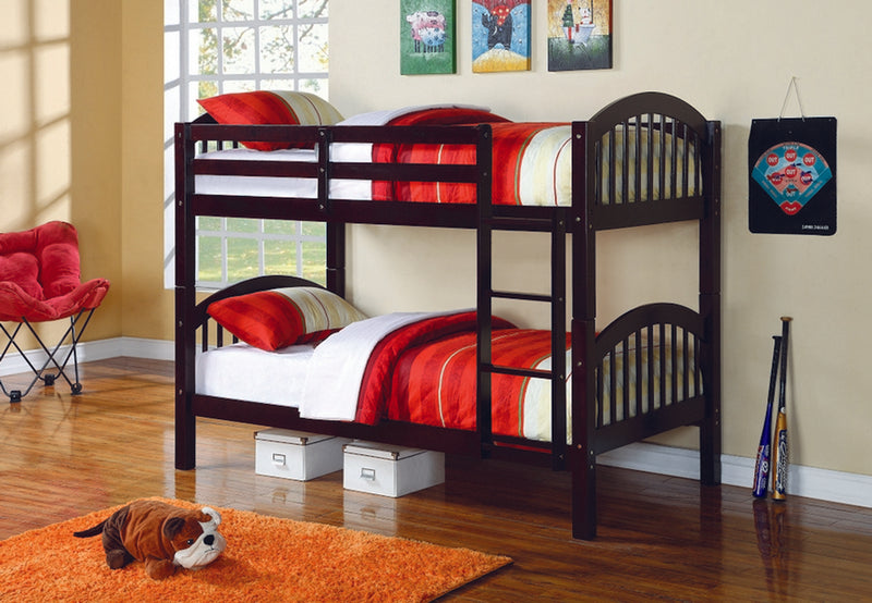 Rosalee Bunk Bed - Single/Single - Espresso - The Fine Furniture