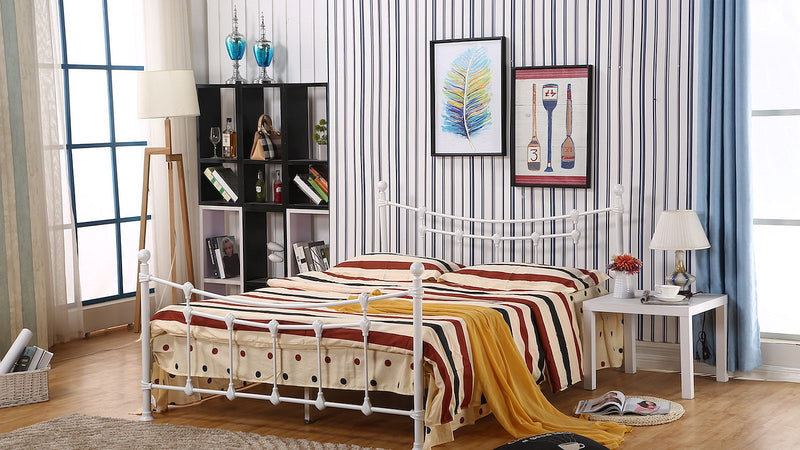 Charleston Bed Frame - Single/Double/Queen - White - The Fine Furniture