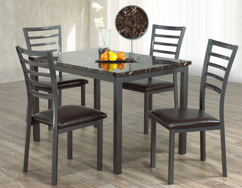 Clinton 5pc Faux Marble Dinette Set - The Fine Furniture