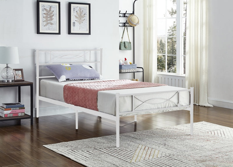Novah Bed Frame - Single - White - The Fine Furniture