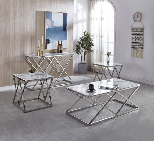 Braylee Coffee Table Set - White Marble - The Fine Furniture