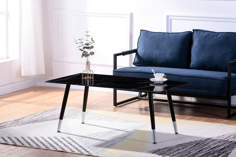 Gwen Coffee Table - Black Marble - The Fine Furniture