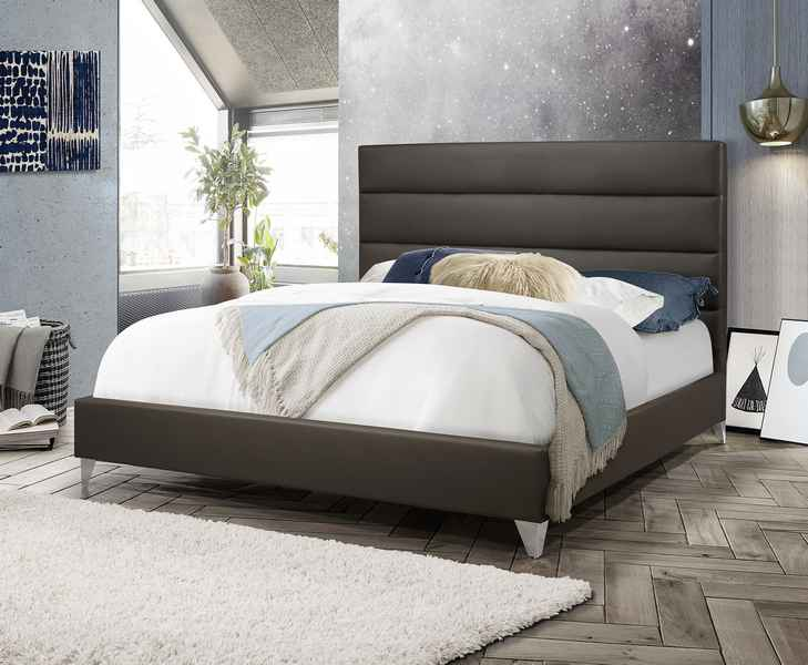 Garrett Bed Frame - Grey Leather- Queen/King - The Fine Furniture