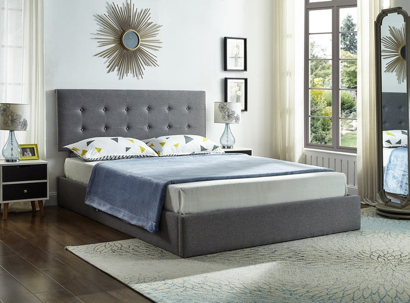 Johan Storage Bed Frame - Grey Fabric- Double/Queen - The Fine Furniture