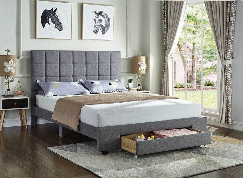 Quincey Bed Frame - Grey Fabric - Double/Queen - The Fine Furniture