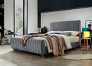 Luna Bed Frame - Grey Velvet - Queen/King - The Fine Furniture