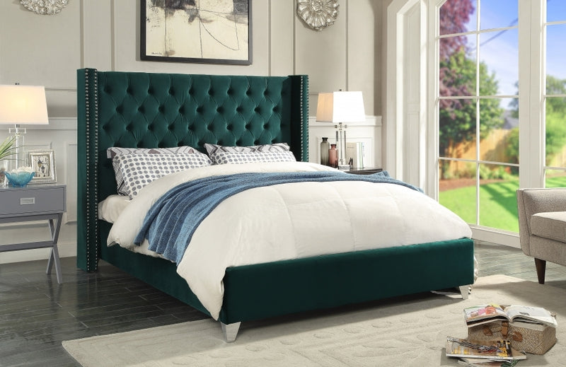 Hadleigh Bed Frame - Green Velvet - Queen/King - The Fine Furniture