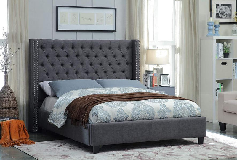 Alaanah Bed Frame - Grey Linen - Queen/King - The Fine Furniture