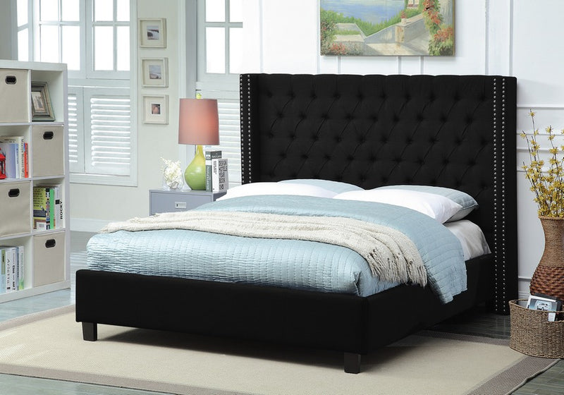 Alaanah Bed Frame - Black Linen - Queen/King - The Fine Furniture