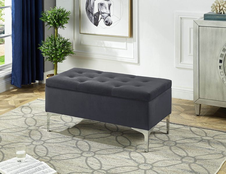 Amiya Storage Bench - Grey - The Fine Furniture