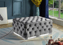 Belen Tufted Ottoman - Grey - The Fine Furniture