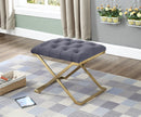 Harley Ottoman - Grey Velvet with Gold Legs - The Fine Furniture