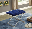 Kaleb Ottoman - Blue Velvet - The Fine Furniture