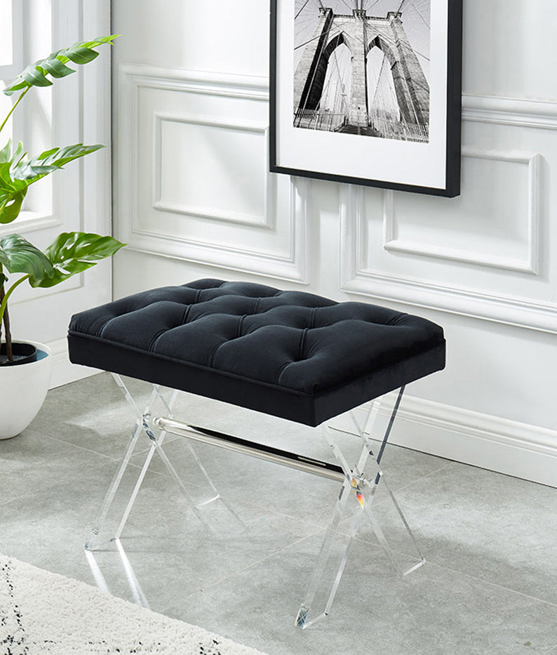 Jax Bench - Black Velvet - The Fine Furniture
