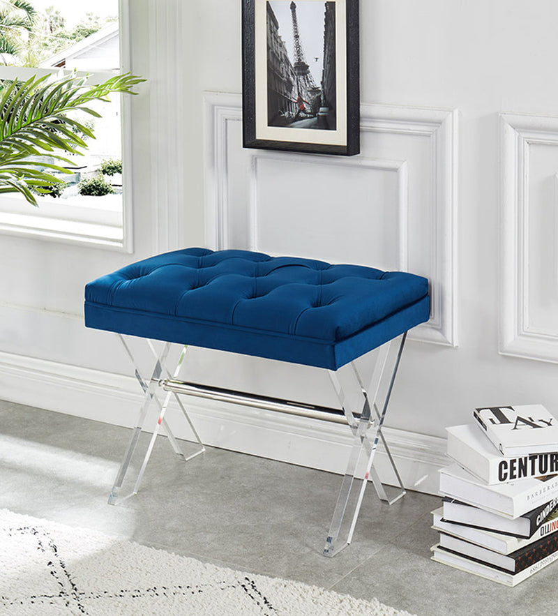 Jax Bench - Blue Velvet - The Fine Furniture