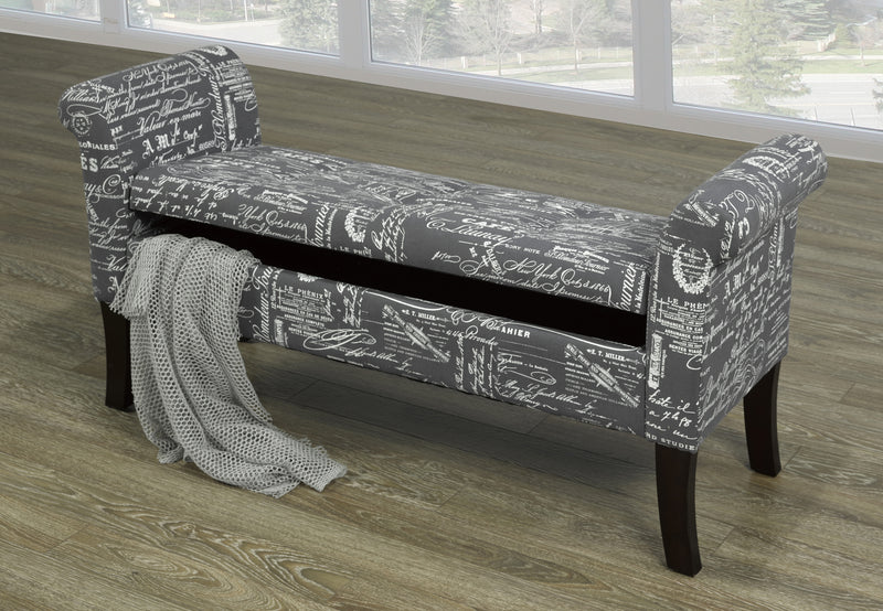 Rosa Storage Bench - Grey French Fabric - The Fine Furniture