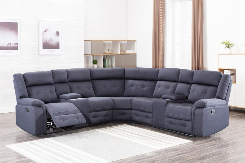Colorado Recliner Sectional - Grey Linen - The Fine Furniture