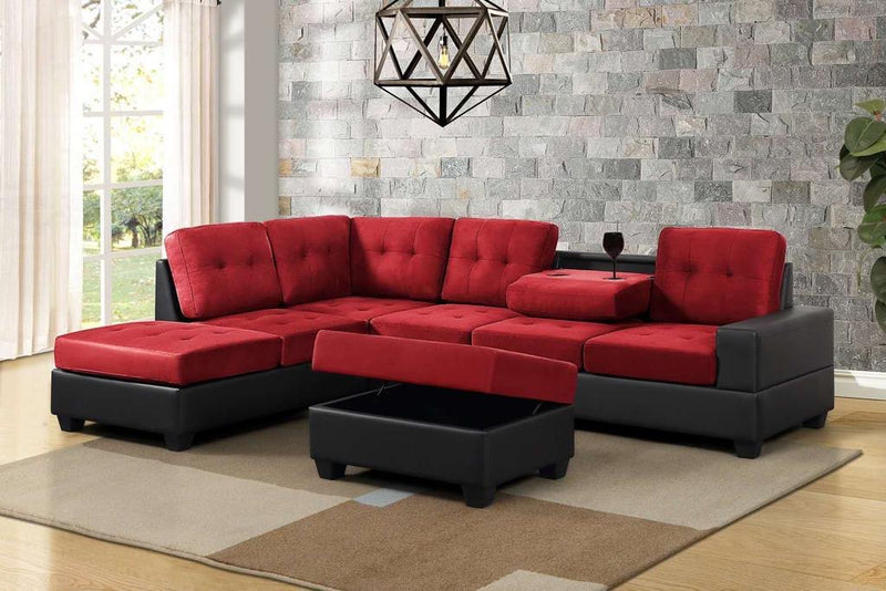 Conley Sectional - Red - The Fine Furniture