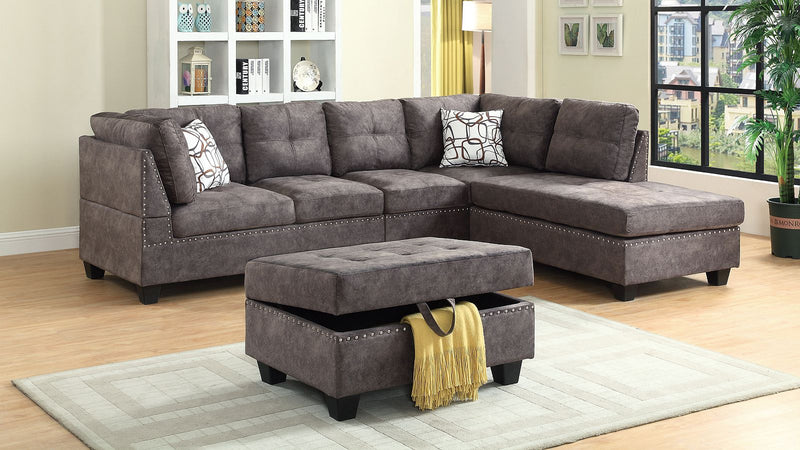 Gregory 4pc Sectional Sofa - Brown - The Fine Furniture