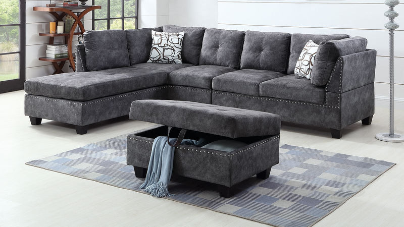 Gregory 4pc Sectional Sofa - Grey - The Fine Furniture