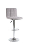 Esmeralda Bar Stool Light Grey Velvet (Set of 2) - The Fine Furniture