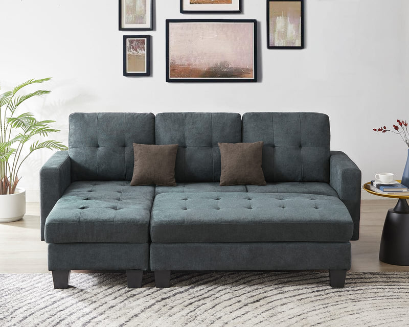 Robin Sectional Sofa Bed with Ottoman - Dark Grey - The Fine Furniture