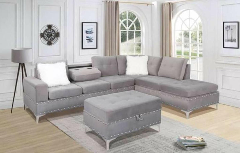 Conley Sectional - Grey Velvet - The Fine Furniture