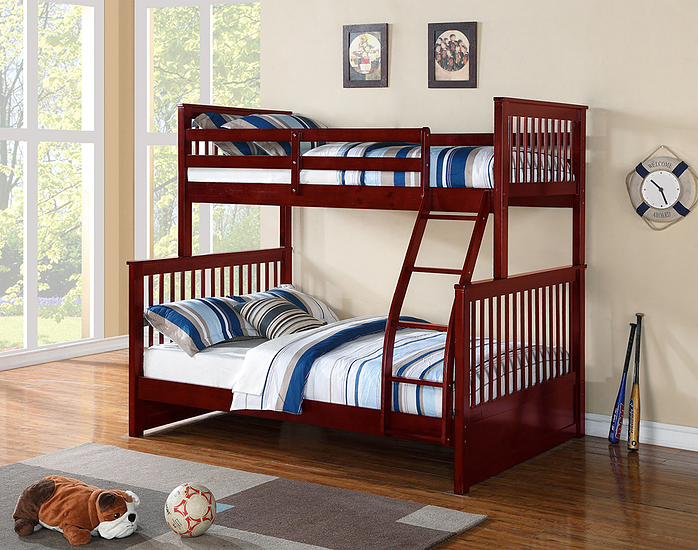 Mission Bunk Bed - Single/Double - Cherry/Honey - The Fine Furniture