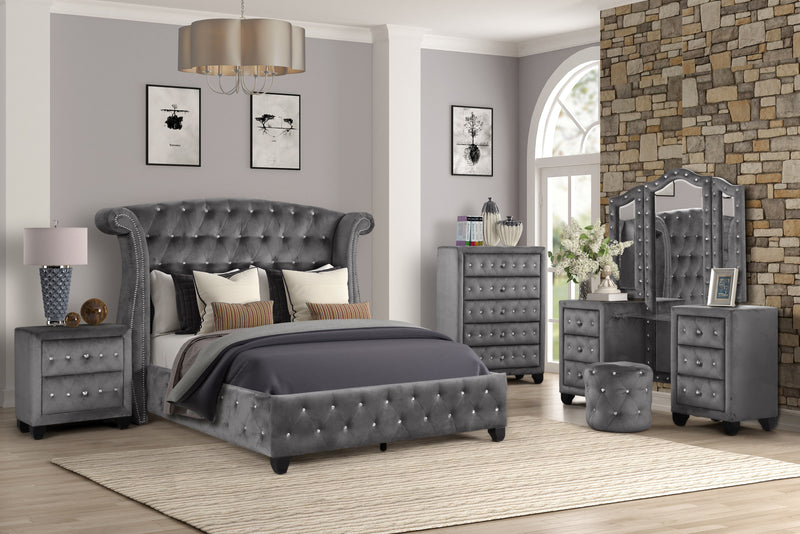 Cambridge Bedroom Series - Grey - Queen - The Fine Furniture