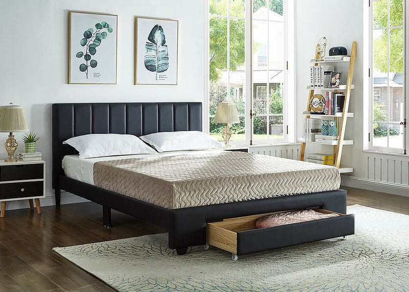 Allie Bed Frame - Double/Queen - Black - The Fine Furniture