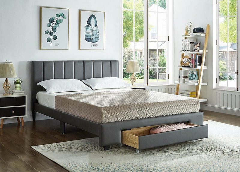 Allie Bed Frame - Double/Queen - Grey - The Fine Furniture
