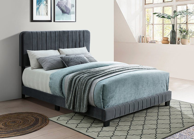 Lilith Bed Frame - Double/Queen/King - Grey Velvet - The Fine Furniture