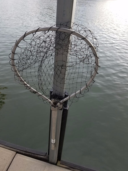 boat dock mounted fish net holder