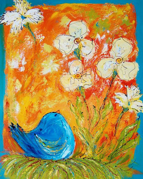 Blue Bird in Nest with Flowers