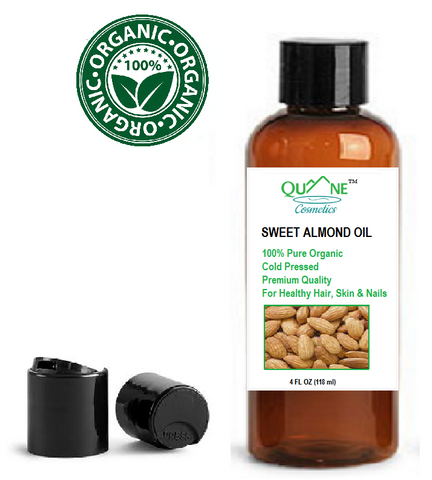 Quane Cosmetics Sweet Almond Oil for Soft Skin , Cold Pressed & Hexane Free 4 oz Disc Cap