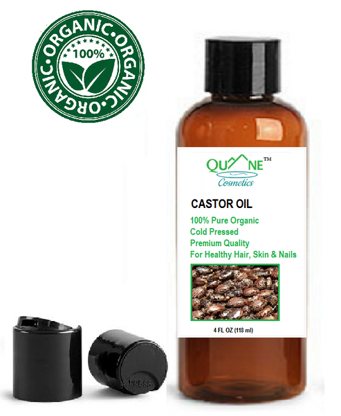 Quane Cosmetics Organic Castor Oil for Smooth Skin & Hair Growth Cold Pressed  4 fl. oz Disc Cap