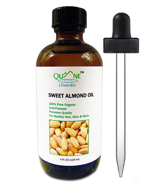 Quane Cosmetics Organic Sweet Almond Oil for Soft Skin , Cold Pressed & Hexane Free 4 oz