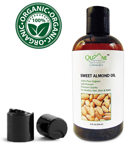 Quane Cosmetics Organic Sweet Almond Oil for Soft Skin , Cold Pressed & Hexane Free 8 oz