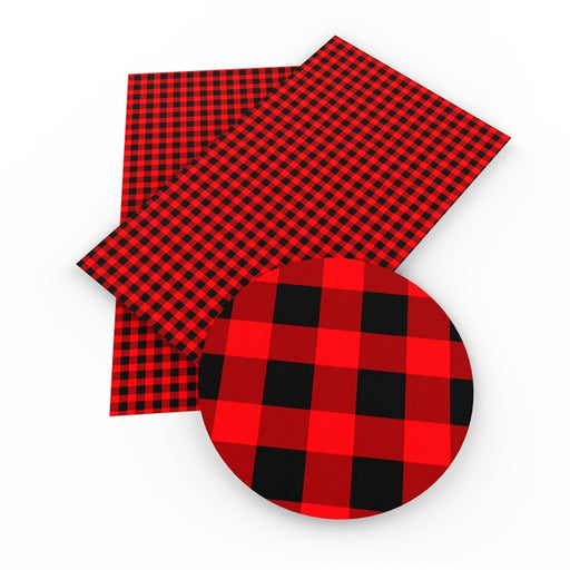 Faux Leather Canvas Sheet - Red Buffalo Plaid