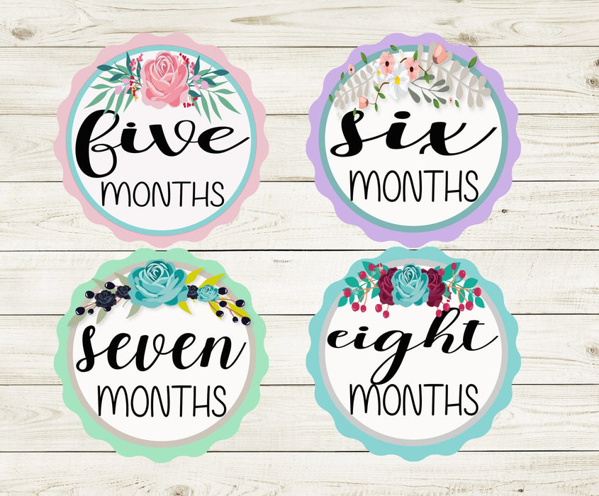 Baby Girl Month Stickers, Monthly Baby Stickers, Monthly Bodysuit Stickers, Floral, Flowers, Monthly stickers girl, Baby Shower Gift