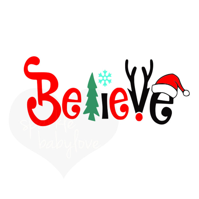 Believe Holiday Iron On Ready To Press Transfer Christmas design, Merry Christmas Iron on, Christmas Design Iron On